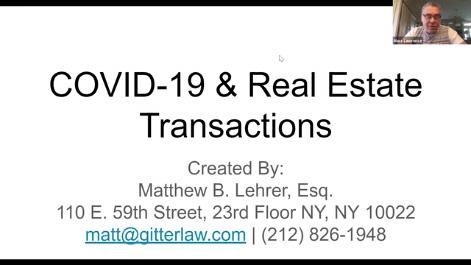COVID-19 & Real Estate Transactions Thumbnail